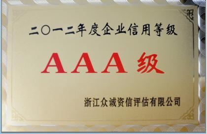 2012年度AAA级信用等级