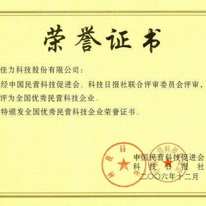 全国优秀民营企业证书